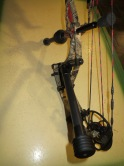 Another angle of my bow with the offset bar and DX Hunter Stabilizer.