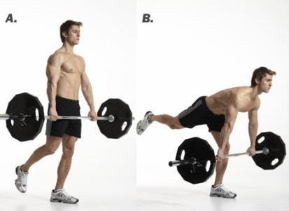 Use of the barbell during one leg dead lift (photo courtesy of sweatlikeapig.com).